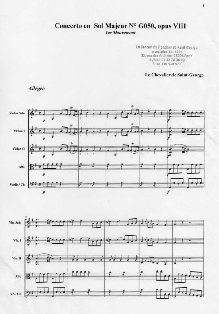 Concerto en Sol Majeur (G Major) G.050