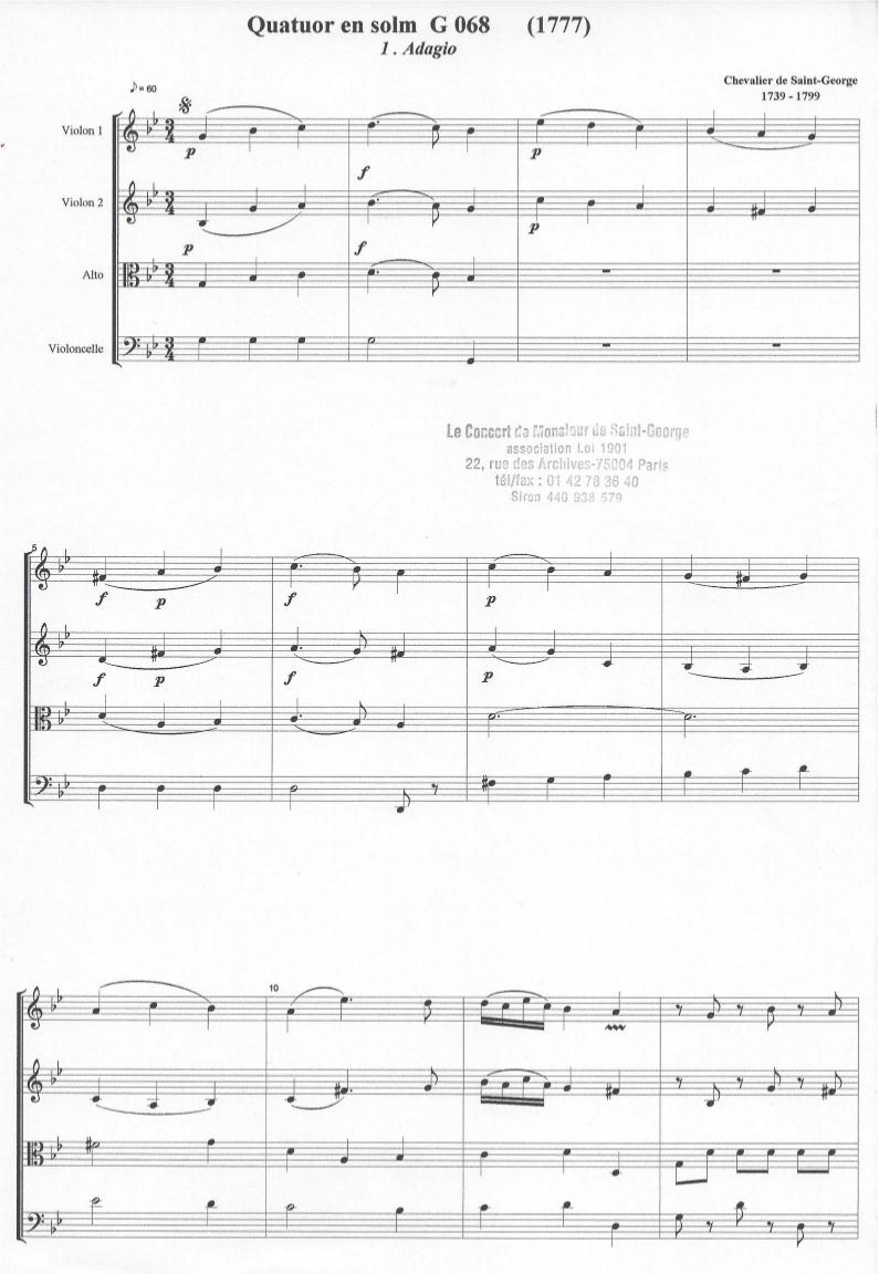 Quatuor en Sol mineur (G minor) G.068