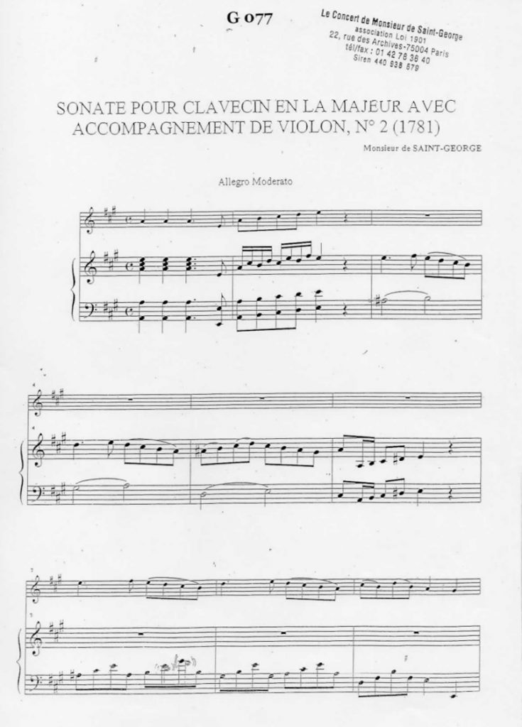 Sonate pour Clavecin en La Majeur (A Major) G.077