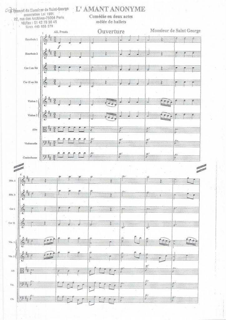 Symphonie en Ré Majeur (D Major) G.074 (Amant Anonyme opening)